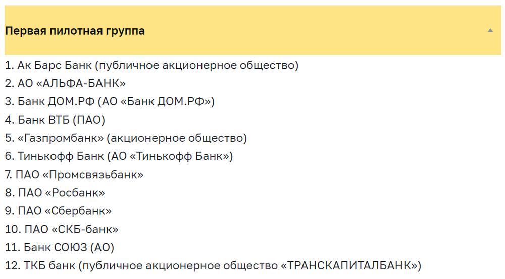 Список банков первой пилотной группы по тестированию цифрового рубля