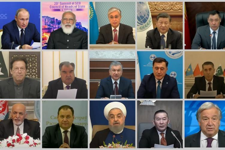 Участники саммита ШОС 10 ноября 2020 года