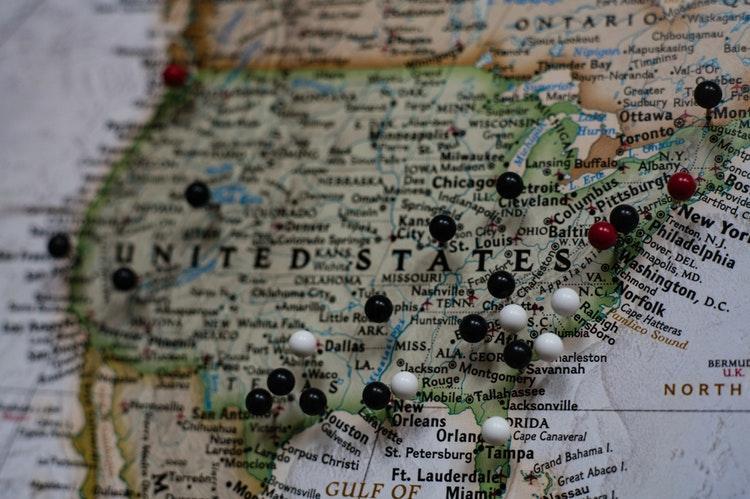 США на карте