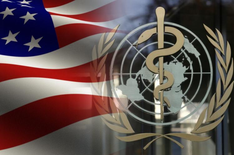Флаг США и эмблема ВОЗ