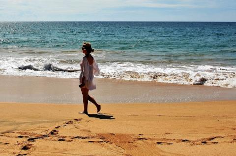 Девушка гуляет на пляже