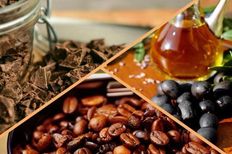Шоколад, черные оливки и кофе