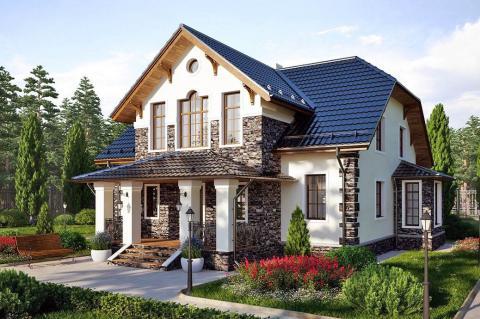 Загородный дом в окружении деревьев