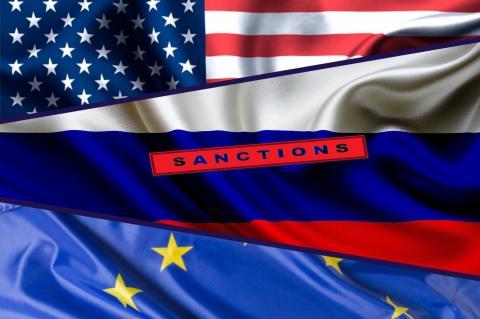 Флаги США, России и ЕС