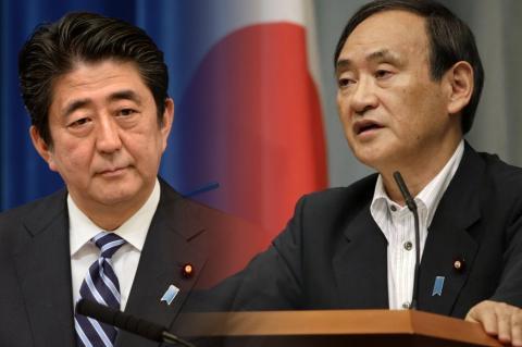 Синдзо Абэ и Ёсихидэ Суга