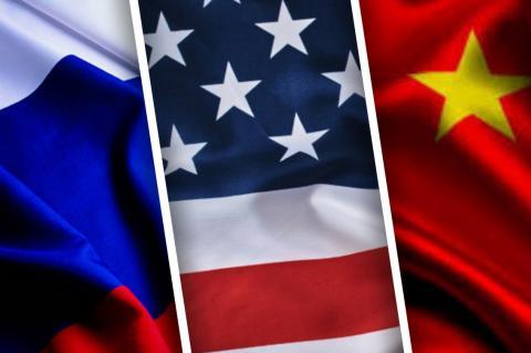 Флаги России, США и Китая