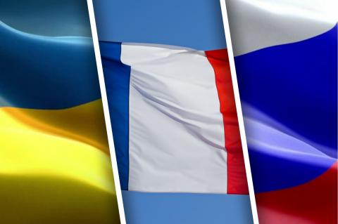 Флаги Украины, Франции и России