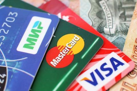 """Карты систем """"Мир"""", Mastercard и Visa"""
