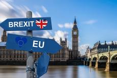 """Указатели """"Brexit"""" и """"ЕС"""" на фоне Вестминстерского дворца"""
